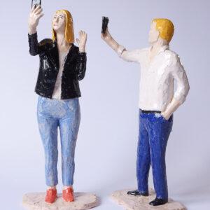 Selfie 2018. Stengods 26x13x8 cm.