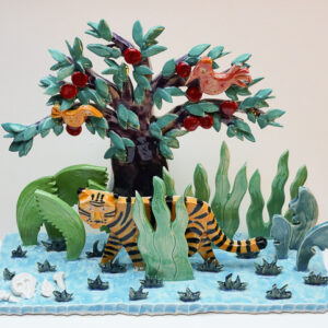 Tiger 2016. Glaserat porslin 20x24x8 cm.